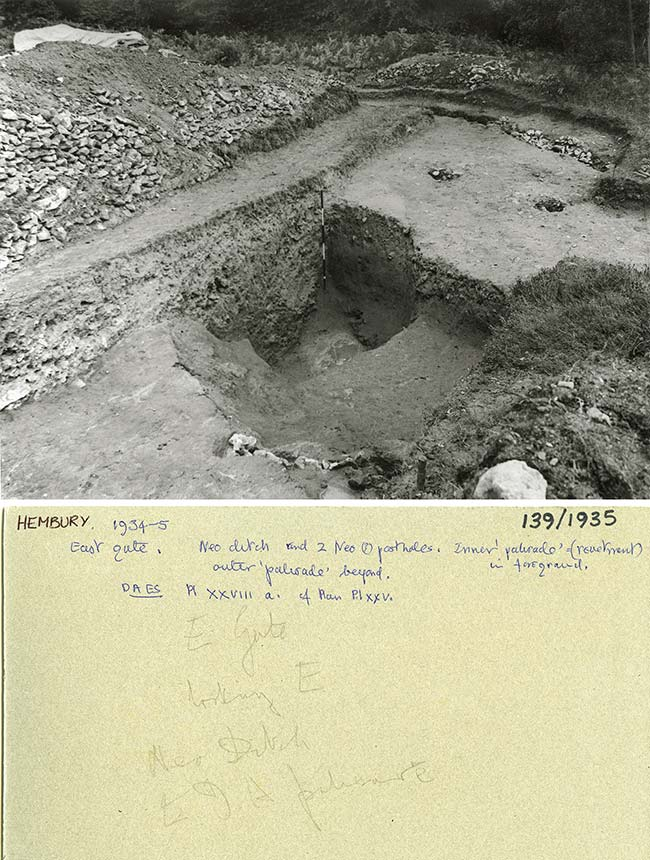 East Gate with Neolithic ditch and postholes, Hembury Fort 1934-5