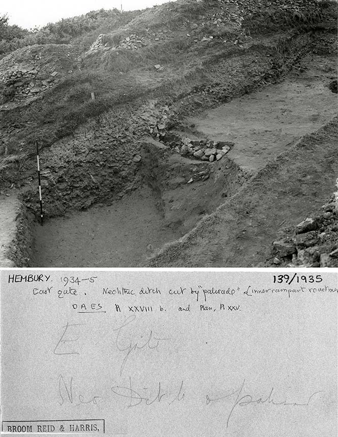 East Gate with Neolithic ditch cut by 'palisade' ,Hembury Fort, Devon1934-5
